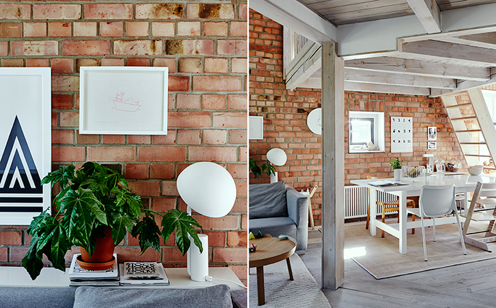 modern living, scandi living, scandinavian design, brick walls, plants, living with plants, snug design, familiy living, wooden ceiling