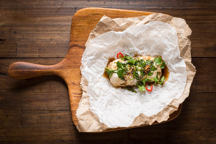 Hopgood's baked fish en papillote with Pic's peanut oil black bean & chilli
