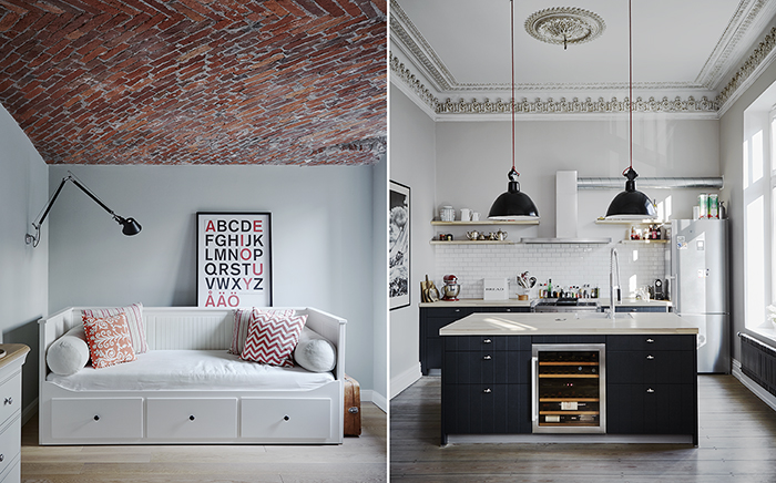 modern living, scandi living, scandinavian design, kitchen, black and white, industrial chic, ikea, young living, bedroom, daybed, brick wall