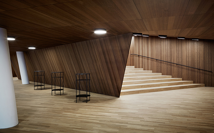 architecture, public buildings, opera, elbphilharmonie, lightning, windows, wood, modern design, foyer, stairs, wood, wooden walls