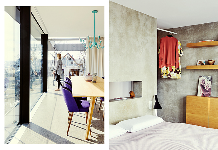 modern living, living room, bedroom, daylight, concrete, colours, view, interior, architecture