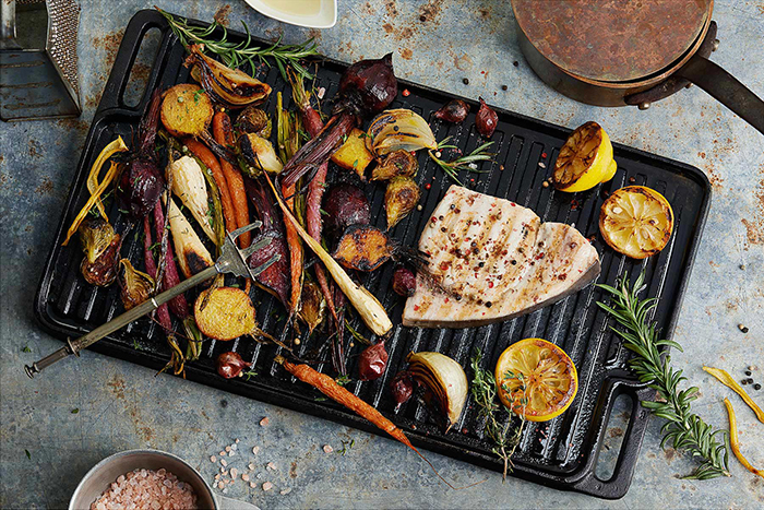 I love my Lodge Cast Iron griddle. These veggies and swordfish were soooo delicious! Food styling by Edyta Legiec and prop styling by Susanne Fairfax.