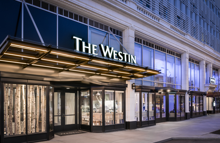 The Westin exterior, Twilight shot