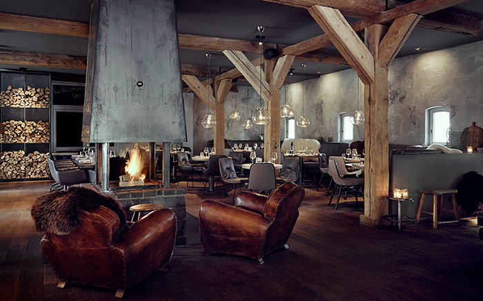 hotel, bar, restaurant, interior design, modern living, modern dining, wood, monochrome, rustic, fireplace,