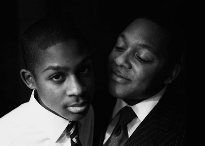 Wynton Marsalis and his son Wynton photographed in New York City