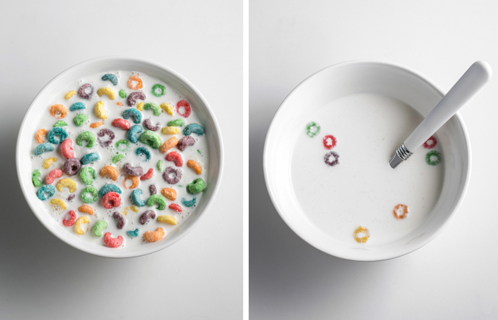 Fruit Loops before and after