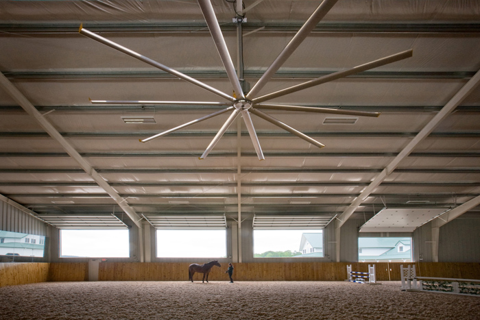 Interior photo of horse barn, with horse and trainer. Client: The Big Ass Fan Co.