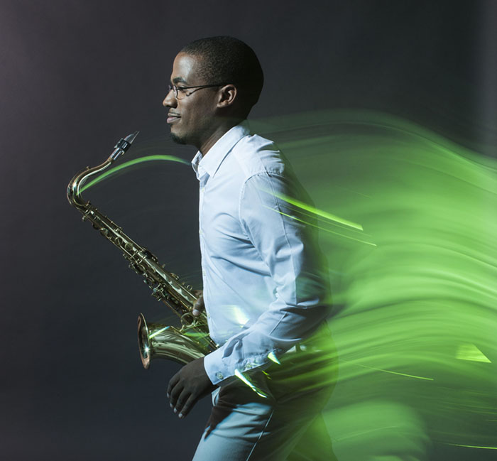 Saxophonist / Composer James Brandon Lewis photographed in New York City for Sony Music Entertainment