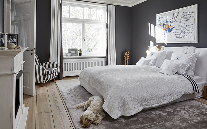 modern living, black and white, stripes, bedroom, bed, carpet, grey walls, living with dogs, dog