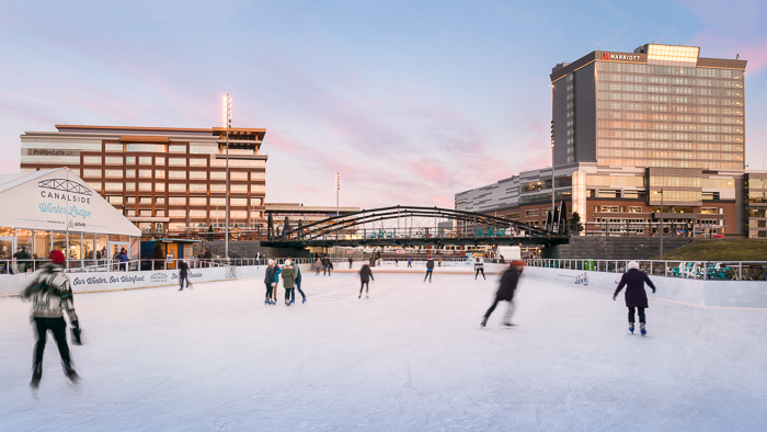 Canalside, a collaboration of multiple developers and architectural firms breaths new life into Harbor side Buffalo NY, featuring The Rinks