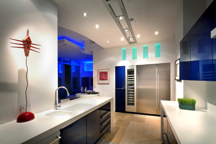 Interior photo of a contemporary penthouse apartment in Buckhead, GA, at dusk.  Client:  Nan Haverty, The Haverty Group.