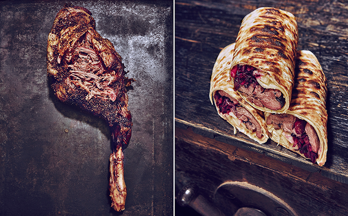 food, smoker, barbecue, lamb, wrap, rustic dutch masters