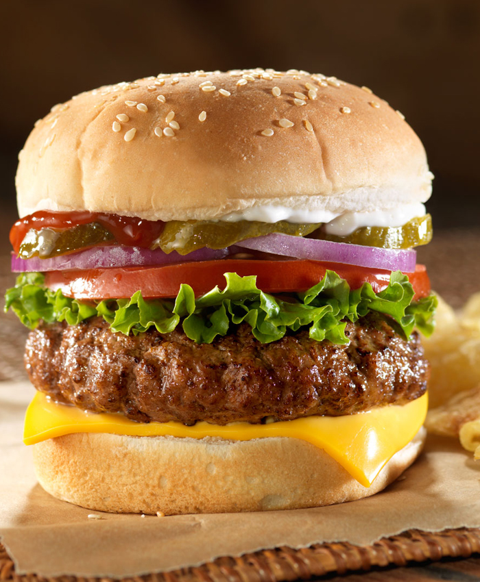 Grilled cheeseburger with lettuce, tomato, pickles and onion