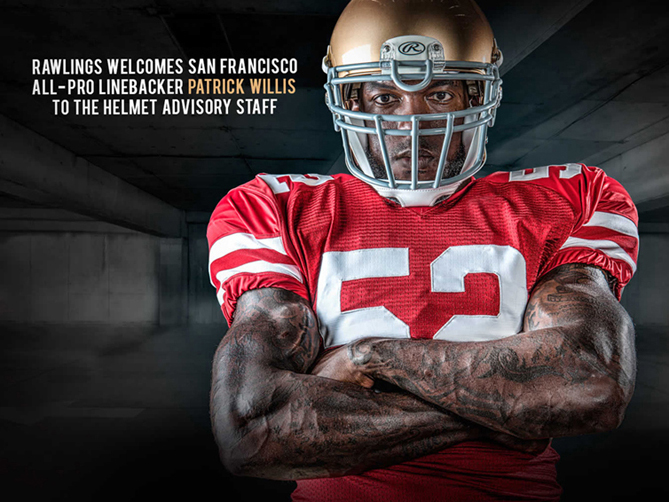 Campaign shoot for Rawlings, Patrick Willis Helmet