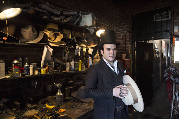 Artist and Hat Maker Gunner Foxx photographed at his House of Hats in Hollywood