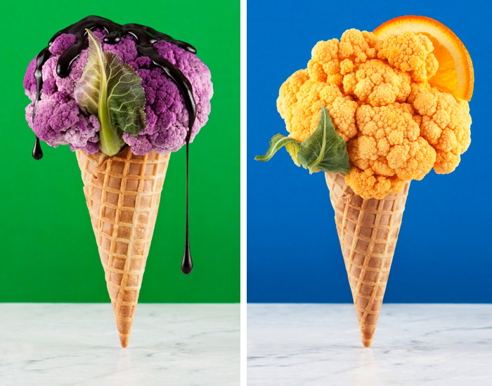 Colorful cauliflower in ice cream cones