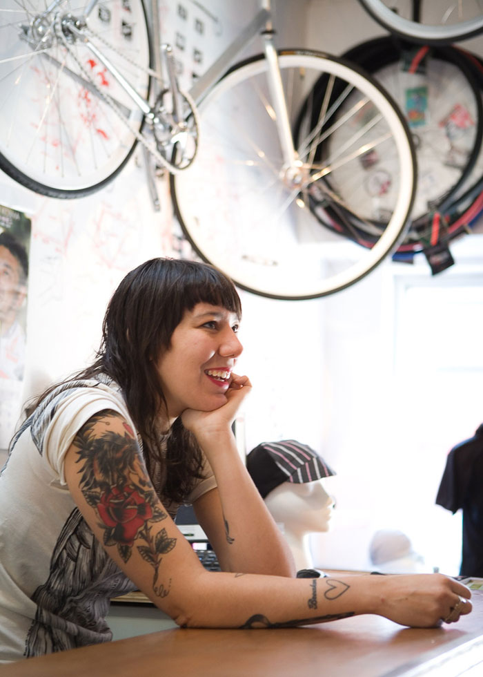Gina Marie Scardino in her Williamsburg, Brooklyn, bike shop, King Kog.