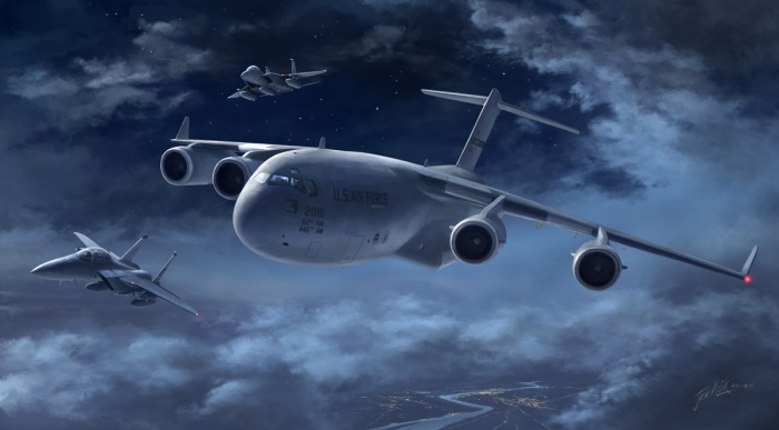 This is a commission work of a C-17 Globemaster transporter accompanied by a pair of F-15 fighters from Bitburg airbase. They have met somewhere over the Rhine river on a nightly transport mission.
