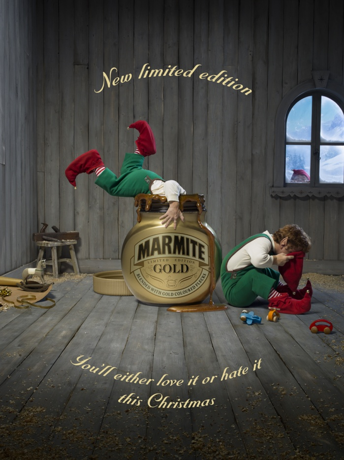 A seasonal advertisement for a special, limited edition version of the beloved (and equally hated) Marmite product.