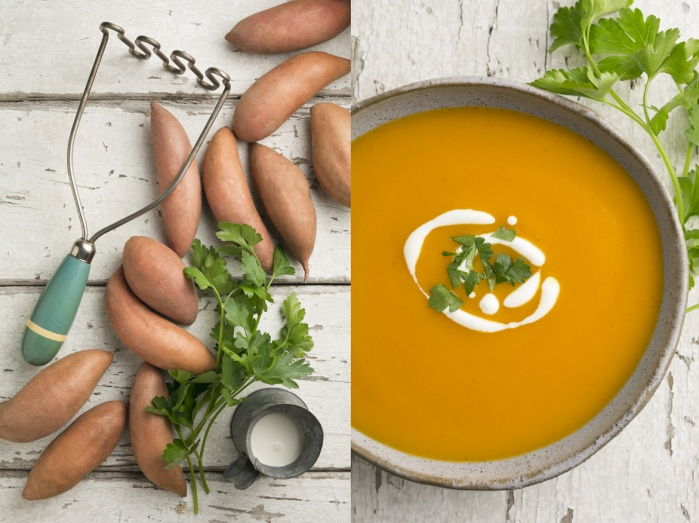 Baby sweet potato puree garnished with parsley and creme fraiche.