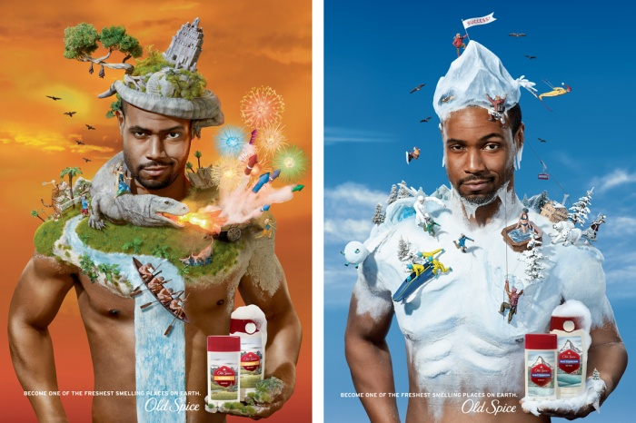 Part of a three image campaign featuring Old Spice spokesperson, Isaiah Mustafa.