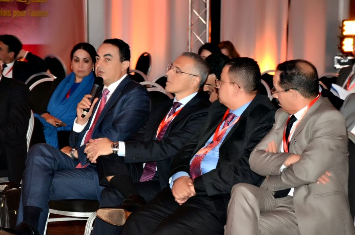 Mohamed Dekkak with Anouar Zaoudi Marquez De Prado at the first forum of Skilled Moroccans Residing in the UAE