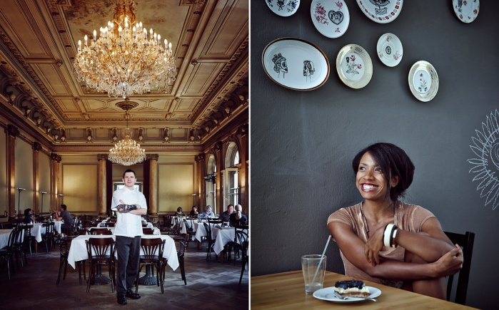 portrait, people, chef, restaurant, interior, food, woman sitting, smile