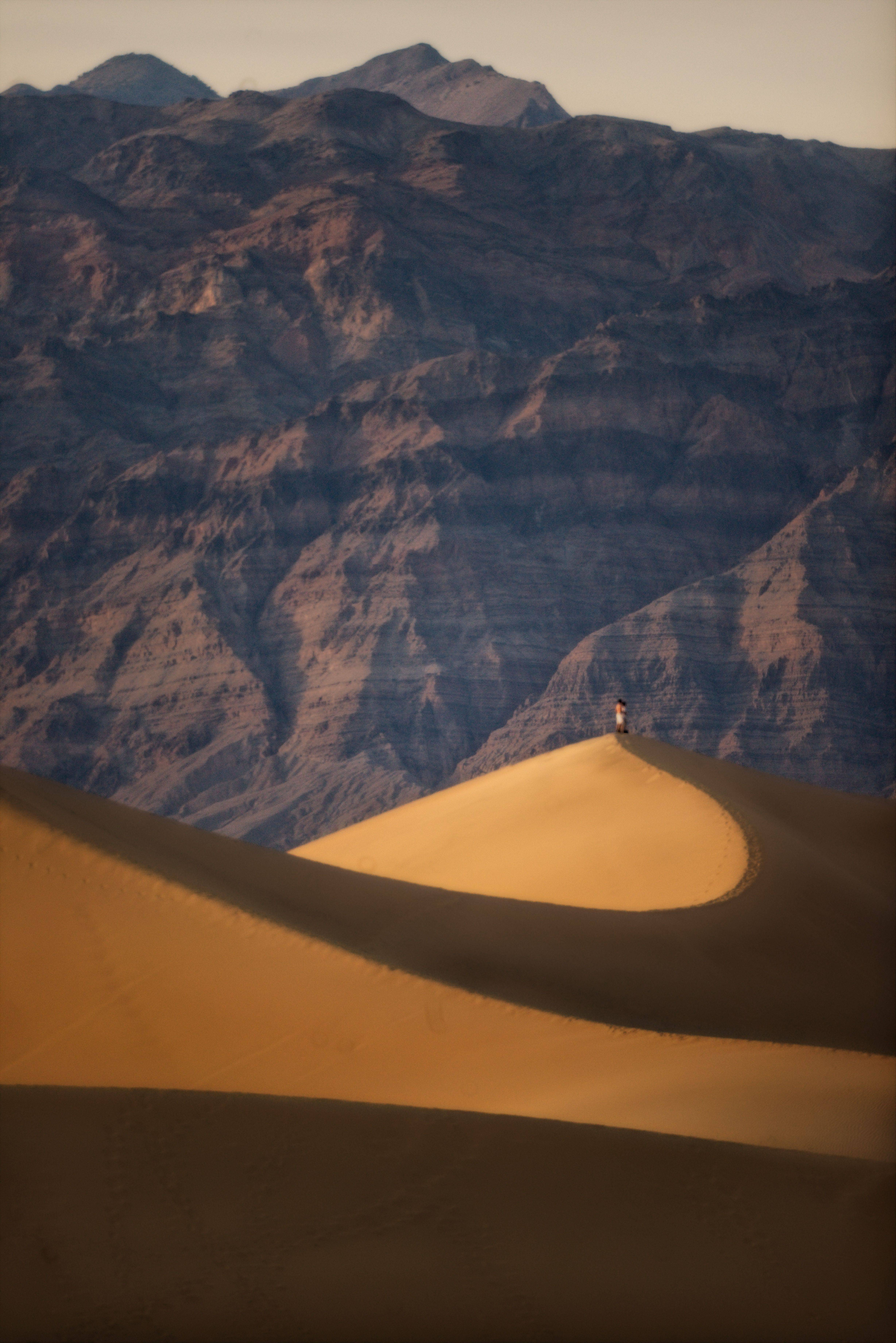 Grand sand dunes at the Mesquite dunes in Death Valley