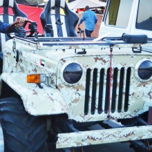 Mohamed Dekkak with Army style UAE Jeep