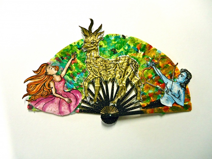 Decorated folding fans based on the story of the Ramayana.