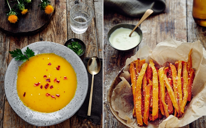 food, pumpkin, soup, orange, rustic, sweet potatoes, fries, autumn