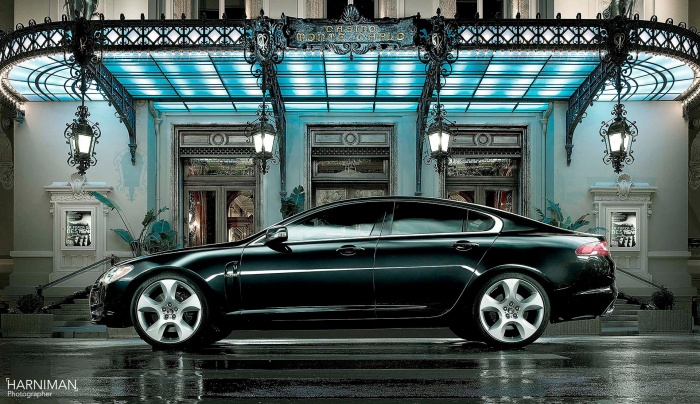 Commercial automotive photography for Jaguar XF in Monaco.
