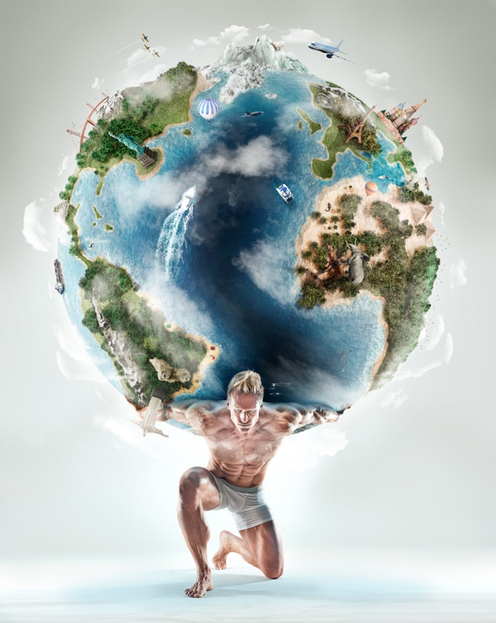 Conceptual portrait of Atlas, the greek god with the weight of the world on his shoulders.