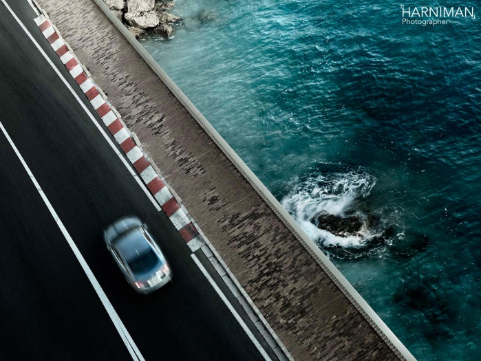 Advertising automotive photography for Jaguar XF in Monaco.