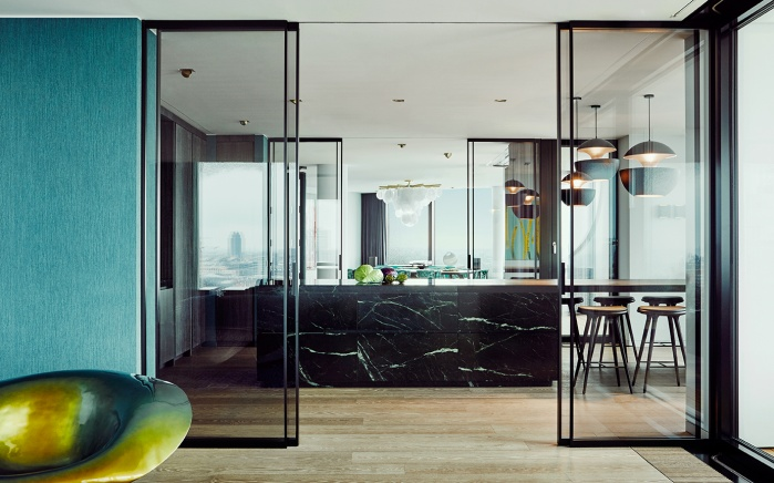 elbphilharmonie, hamburg, interior, kitchen, marble, modern living, living with a view,