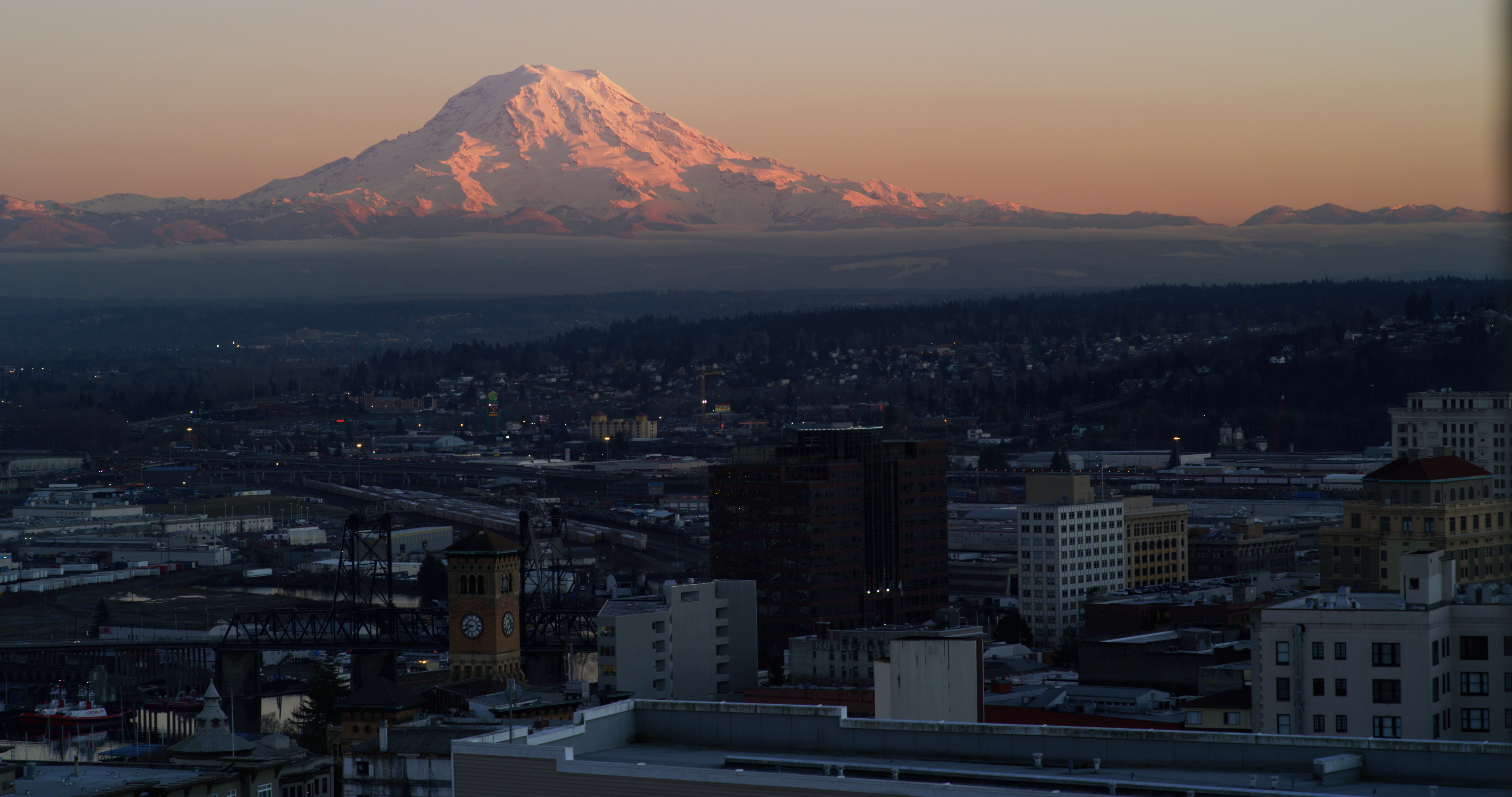 The mountain at sunset viewed from high above downtown Tacoma.